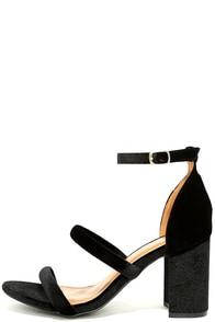 Cadee Black Velvet Dress Sandals