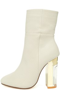 Naomi Off-White Lucite Mid-Calf Boots