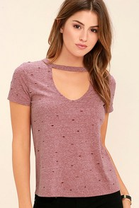 Do You Washed Burgundy Distressed Tee