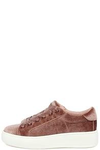 Steve Madden Bertie-V Blush Velvet Sneakers Image