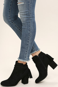 Philipa Black Suede Ankle Booties