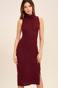 Streets of Paris Wine Red Bodycon Sweater Dress