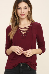Love Song Wine Red Long Sleeve Lace-Up Top