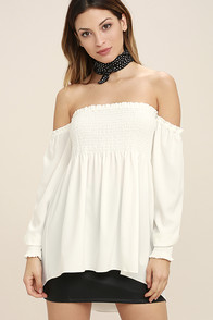 Moonlit Drive White Off-the-Shoulder Top