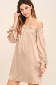 Award Show Champagne Satin Off-the-Shoulder Dress