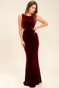 Reach Out Burgundy Velvet Maxi Dress at Lulus.com!