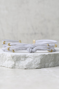 Pretty Little Thing Gold and Grey Velvet Choker Necklace