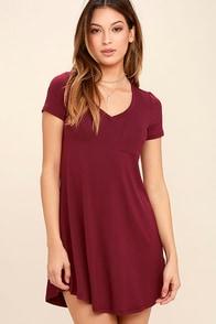 Better Together Wine Red Shirt Dress