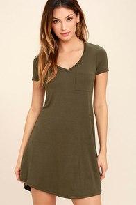 Better Together Olive Green Shirt Dress