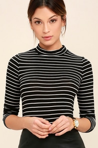 60s Shirts, Tops, Blouses | 70s Shirts, Blouses Anything is Posh-ible Black Striped Top $29.00 AT vintagedancer.com