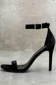 Daniella Black Velvet Ankle Strap Heels