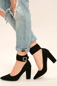 Walker Black Suede Ankle Strap Heels
