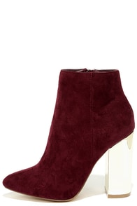 Ashton Burgundy Suede Ankle Booties Image