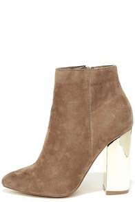 Ashton Taupe Suede Ankle Booties Image