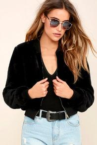 Charisma Black Faux Fur Bomber Jacket