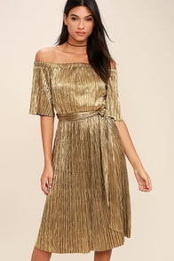 Wishing Gold Off-the-Shoulder Dress at Lulus.com!