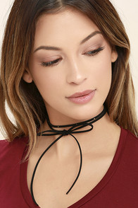 Tied Me Over Black Wrap Necklace