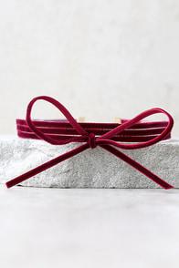 Gifted Burgundy Velvet Layered Choker Necklace