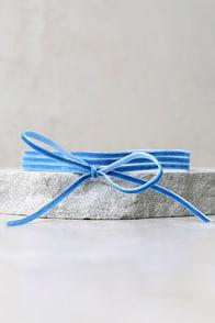 Gifted Light Blue Velvet Layered Choker Necklace