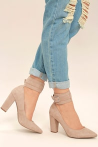 Walker Natural Suede Ankle Strap Heels