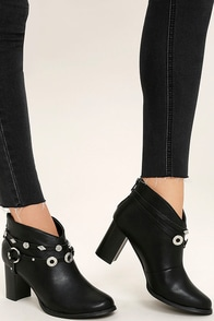 Gretta Black High Heel Ankle Booties Image