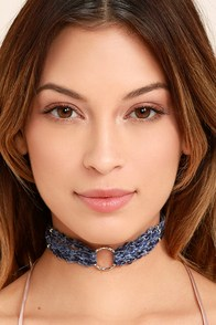Your Hero Silver and Slate Blue Choker Necklace