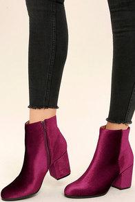 Annette Garnet Velvet Ankle Booties Image