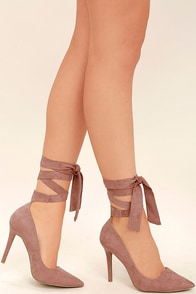 Chantel Mauve Suede Lace-Up Heels Image