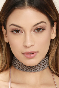 Lattice Explain Grey Choker Necklace