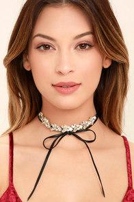 Vixen Gold and Black Rhinestone Wrap Necklace