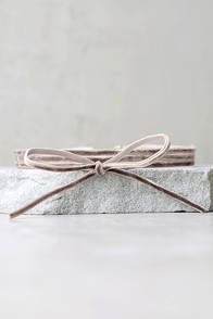 Gifted Taupe Velvet Layered Choker Necklace