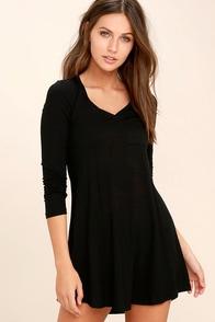 Relaxation Black Long Sleeve Dress