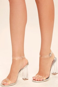 Clear to See Silver Lucite Heels