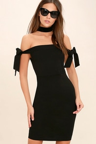 Cause a Commotion Black Off-the-Shoulder Dress