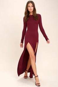 Rustling Leaves Burgundy Long Sleeve Maxi Dress