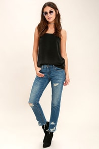 Blank NYC Crop Girlfriend Medium Wash Distressed Jeans