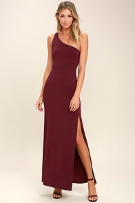 Face to Face Wine Red One Shoulder Maxi Dress