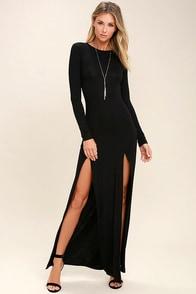 Rustling Leaves Black Long Sleeve Maxi Dress