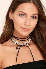 Bailamos Black Rhinestone Wrap Necklace