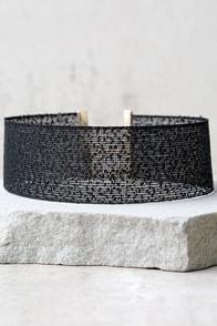 Cut a Rug Black Choker Necklace