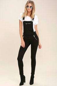 Cheap Monday Zip Black Denim High-Waisted Overalls