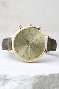 Time to Go Gold and Bronze Leather Watch