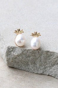 Fancy Fruit Gold and Pearl Pineapple Earrings
