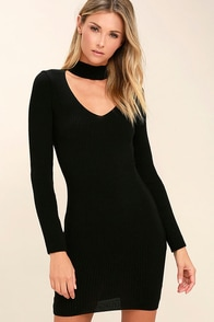 The One You Love Black Bodycon Sweater Dress