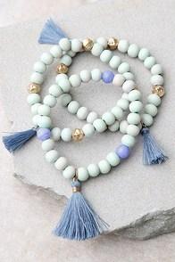 Magic Word Gold and Mint Blue Bracelet Set