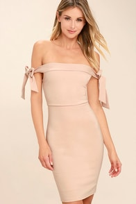 Cause a Commotion Blush Pink Off-the-Shoulder Dress