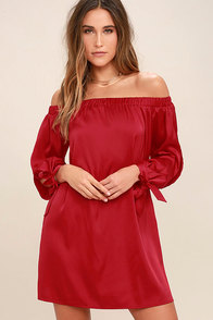 Award Show Red Satin Off-the-Shoulder Dress at Lulus.com!