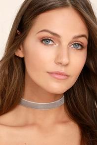 Whimsical Wishes Grey Velvet Choker Necklace