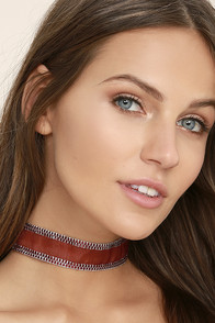 Perfect Blend Silver and Burgundy Choker Necklace