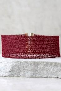 Cut a Rug Burgundy Choker Necklace